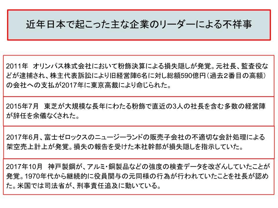 近年日本で起こった主な企業のリーダーによる不祥事
